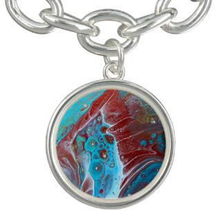 Aquamarines und kupfernes Acryl gießen Kunst Charm Armbänder