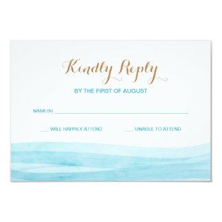 Aquarell bewegt Ozean-Strand-Hochzeits-Wartekarte 8,9 X 12,7 Cm Einladungskarte