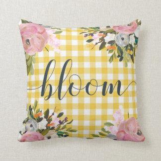 Aquarell-Blumen- und gelbe des Gingham-| Blüte Kissen