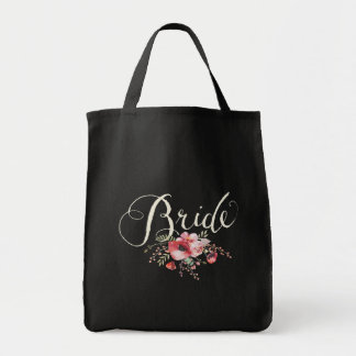 Aquarell-Blumenhochzeits-Typografie-Braut-Tasche Tragetasche