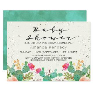Aquarell-Blumenkaktus-Babyparty-Einladung 12,7 X 17,8 Cm Einladungskarte