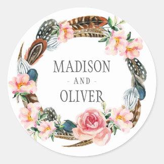 Aquarell-BlumenKranz mit Federn Wedding | Runder Aufkleber