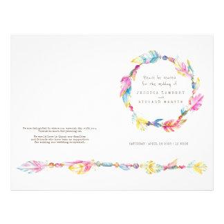 Aquarell boho Feder-Kranz-Hochzeitsprogramm Flyer