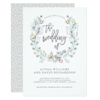 Aquarell-botanischer mit BlumenKranz Wedding | 12,7 X 17,8 Cm Einladungskarte