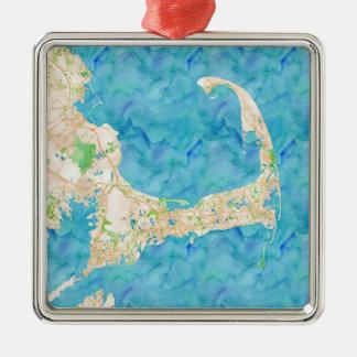 Aquarell-Cape Cod-Karte Quadratisches Silberfarbenes Ornament