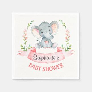 Aquarell-Elefant-Mädchen-Babyparty Papierserviette