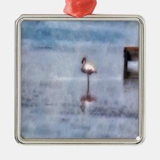 Aquarell-Flamingo Quadratisches Silberfarbenes Ornament