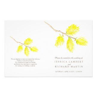 Aquarell gelbe Catkins, die Programm wedding sind Flyer