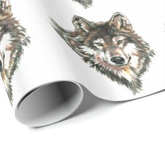 Aquarell-grauer Wolf-Kopf oder Logo Einpackpapier