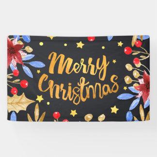 Aquarell-helle goldene frohe mit Blumenweihnachten Banner