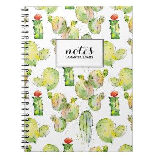 Aquarell-Kaktus-saftiges Muster-Namen-Monogramm Notizblock