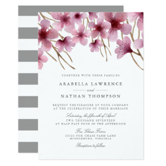 Aquarell-Kirschblüten, die Einladung Wedding sind