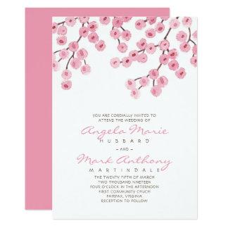 Aquarell-Kirschblüten-Hochzeit 12,7 X 17,8 Cm Einladungskarte