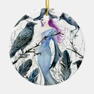 Aquarell-Krähen und Hexe Keramik Ornament