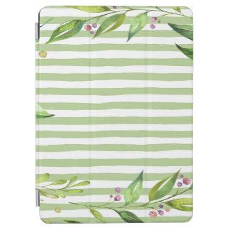 Aquarell-Kunst-mutiges Grün Stripes Blumenmuster iPad Air Cover