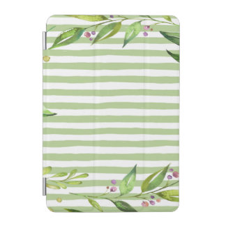 Aquarell-Kunst-mutiges Grün Stripes Blumenmuster iPad Mini Cover