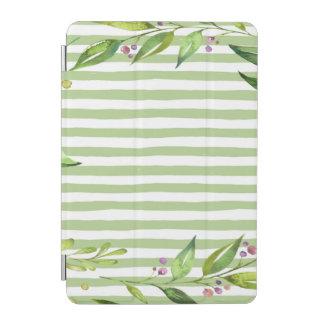 Aquarell-Kunst-mutiges Grün Stripes Blumenmuster iPad Mini Hülle