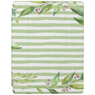 Aquarell-Kunst-mutiges Grün Stripes Blumenmuster iPad Smart Cover
