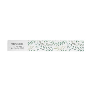 Aquarell-Laub-Grün-Hochzeit Adressband