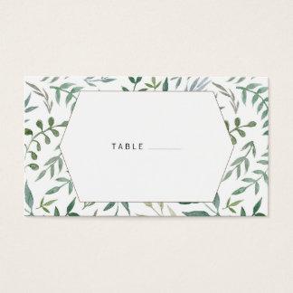 Aquarell-Laub-Grün-Hochzeit Visitenkarten