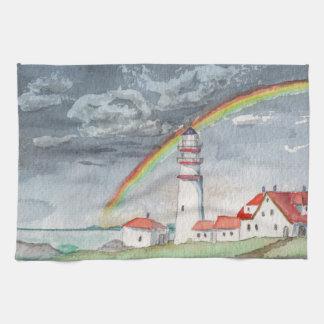 Aquarell-Malerei-Leuchtturm und Regenbogen Geschirrtuch