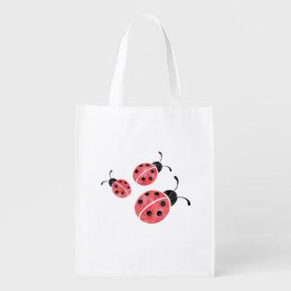 Aquarell-Marienkäfer-wiederverwendbare Einkaufstasche