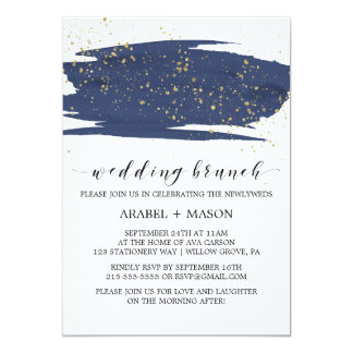 Aquarell-Marine-und Goldschein-Hochzeits-Brunch 12,7 X 17,8 Cm Einladungskarte