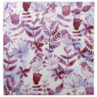 Aquarell mit Blumen u. Vögel II Stoffserviette