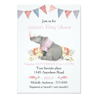 Aquarell-Nashorn in der rosa Strickjacke-Babyparty 12,7 X 17,8 Cm Einladungskarte