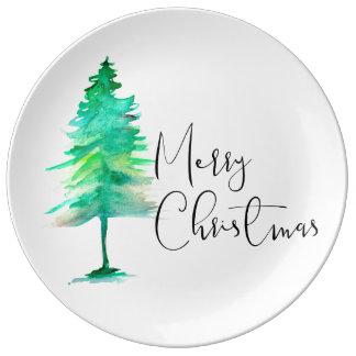 "Aquarell Pinetree und Skript ""frohe Weihnachten "" Porzellanteller"
