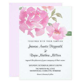 Aquarell-rosa mit Blumenpfingstrosen, die Chic 12,7 X 17,8 Cm Einladungskarte