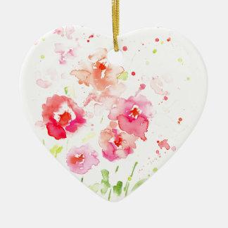 Aquarell-rosa Mohnblumen Keramik Herz-Ornament
