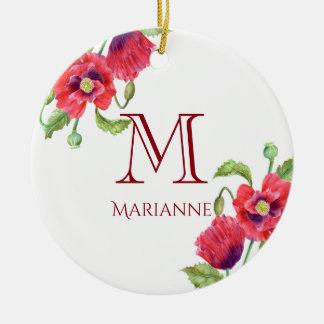 Aquarell-rote Mohnblumen-Blumenkunst-Monogramm Keramik Ornament