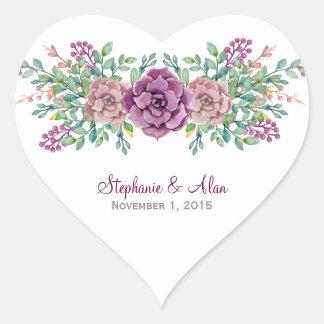 Aquarell-saftige Hochzeits-mit Blumenaufkleber Herz-Aufkleber