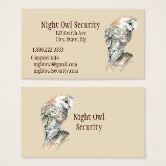 Aquarell-Schleiereule-Sicherheits-Geschäft Visitenkarte