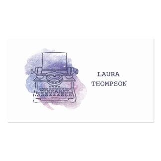 Aquarell-Schreibmaschinen-Verfasser-Visitenkarten Visitenkarten