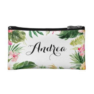 Aquarell-tropische Blumenrahmen-Kosmetik-Tasche Kosmetiktasche