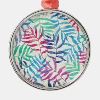 Aquarell-tropische Palmblätter Silbernes Ornament