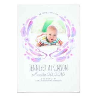 Aquarell versieht Geweih BlumenBoho Baby-Geburt 12,7 X 17,8 Cm Einladungskarte