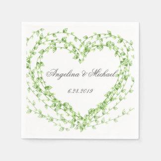 Aquarellblatt Kranz-Hochzeit Serviette