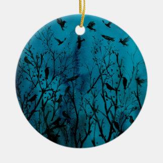 Aquarellkrähen im Holz nachts Keramik Ornament