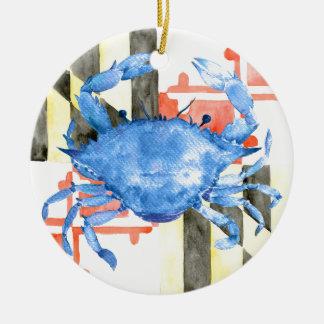 Aquarellmaryland-Flagge und blaue Krabbe Keramik Ornament