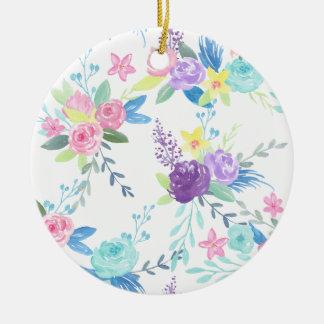 Aquarellpastellfarbblumenmuster Keramik Ornament
