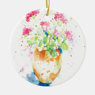 Aquarellpelargonie im Terrakottatopf Rundes Keramik Ornament