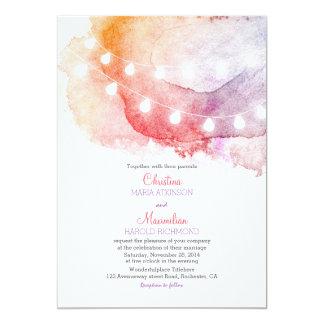 Aquarellschnur beleuchtet elegante Hochzeit 12,7 X 17,8 Cm Einladungskarte