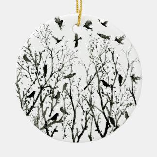 Aquarelltinte Krähen im Holz Keramik Ornament