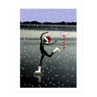 Arabeske-WeihnachtsSkater Postkarte
