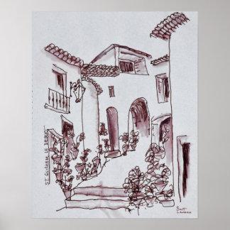 Architektur   Heilig-Guilhem-Le-Wüste, Frankreich Poster
