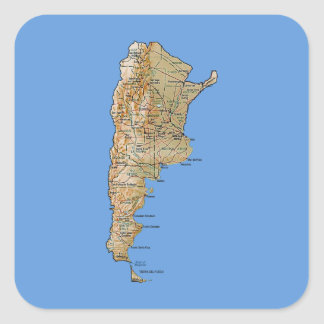 Argentinien-Karten-Aufkleber Quadratischer Aufkleber