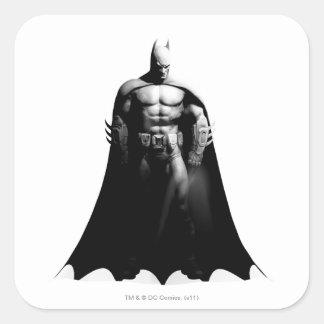 Arkham Stadt| Batman-breite Schwarzweiss-Pose Quadratischer Aufkleber